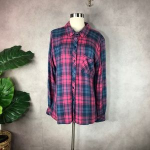 Rails Hunter Soft Brushed Plaid Button Down Blouse